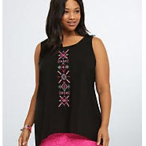 Torrid embroidered high low mesh tank top 1x